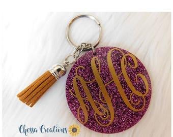 Glitter Keychain, Custom Keychain, Tassel Keychain, Monogram Keychain, Keychain, Name Keychain, Cute Keychain, Keychain for Women, Birthday