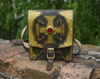 Handmade natural leather bag  stylished by Warhammer 40k - Inquisition