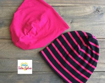 Bamboo stripe Fuchsia/black reversible hat
