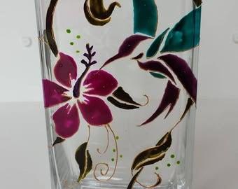 Handmade vase painting on glass, hand painted Hummingbird, Hummingbird, Hummingbird painting