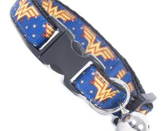 Wonder Woman Cat Collar. Cat or Kitten Safety Collars with Quick Release Buckle and Removable Bell