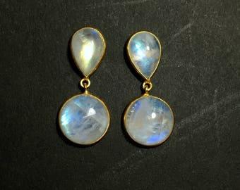 Rainbow Moonstone Earrings | 54500 | Moonstone | Silver Earrings | Gold Plated Gemstone Ring | June Birthstone | Moonstone Engagement Ring