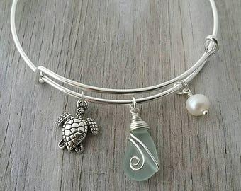 Handmade in Hawaii, wire wrapped seafoam sea glass bracelet, Sea turtle charm,  Sea glass jewelry,beach glass jewelry,Hawaiian jewelry.