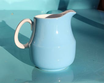 1970's Vintage Mikasa Cera Stone D-1500 - Turquoise - Robbins Egg Blue - Creamer - 3 3/4 inches - Excellent Condition