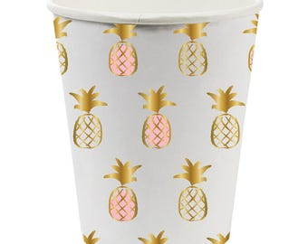 Pineapple Cups,Pineapple Party,Summer Cups,Summer Party,White and Gold,Pink Pineapple,White Pineapple,Pineapple,Gold Foil Cups,Party Cups