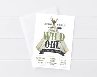 Boys Wild One Invitation | Wild One Birthday | Wild One Party | Indian | Tribal Birthday | Teepee | Printable Invitation