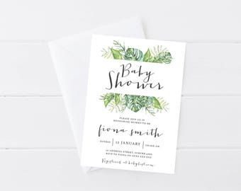 Baby Shower Invitation Gender Neutral | Rustic Baby Shower Invitation | Fern Plant Baby Shower Invitation