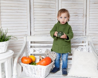 Knitted sweater / Wool sweater / Knitted wool sweater / Girl sweater / Alpaca sweater / Boy sweater / Gift / green sweater/ Christmas gift