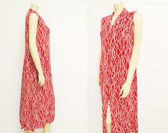 Red Maxi Dress, UK16, Hippie Dress, 1990s Clothing, Summer Dress, Boho Dress, Festival Clothing, Shirt Dress, Ladies Dresses, Clothing