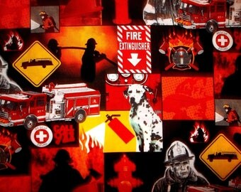 Firemen Call 911 Cotton Fabric #297