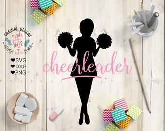 Cheerleader svg, Cheerleader Cut File in SVG, DXF, PNG, Cheerleader figure, Silhouette Cameo, Cricut, Crafts, Sports svg, cheer svg,