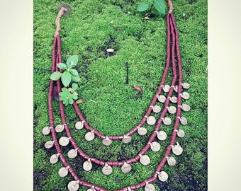 brass pendants necklace with nagaland beads.