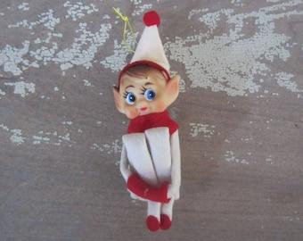 Vintage Japan Knee Hugger Elf Ornament Vintage Elf Ornament