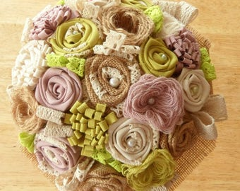 Bridal bouquet of Burlap, fabric and lace (made to order)