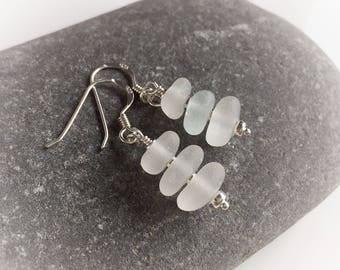 White Sea Glass Earrings