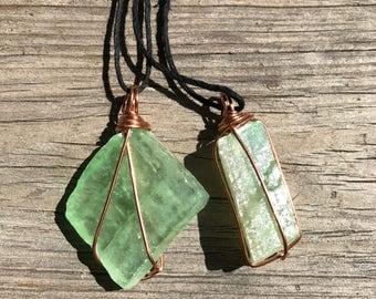Green Calcite Copper Wire Wrap Pendant
