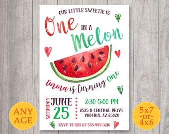 Watermelon Invitation, Watermelon Birthday Invitation, One in a Melon Invitation, Watermelon Party invite, First Birthday, 1st birthday