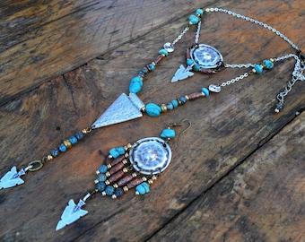 """Tílasm"" Tribal necklace & Mono-boucle Chrysocolla & Turquoise"