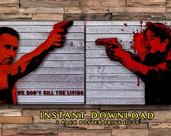 AMC Walking Dead Glenn & Rick Printables, Bloody Prints, Zombies, Horror Movies, Instant Download, Walking Dead Gifts, Gifts for Him