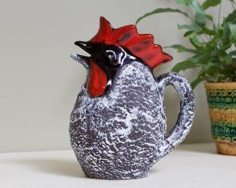 Fratelli Meloni, San Marino: Vintage Ceramic Italian Rooster Jug with Fat Lava Glaze