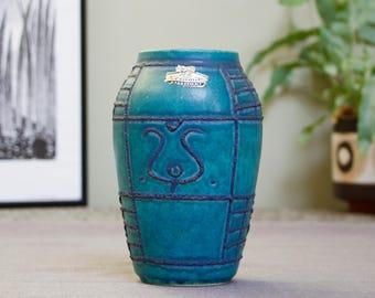 Bay Keramik: West German Modernist Fat Lava Era Ceramic Vase With Turquoise Blue Glaze and Tubelined Decor