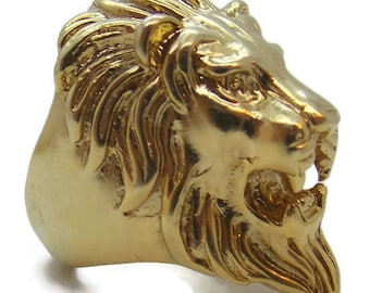 14k Solid Yellow Gold Lion Head Ring!!