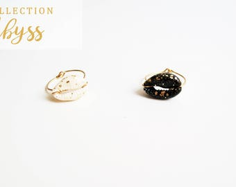 Ring Abyss Shell white / black gold (gold-filled) 12 k