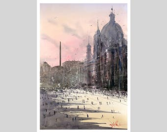 Fine Art Print Rome Italy Watercolour Painting Signed Cityscape Town Scene Urban Giclee High Quality Vibrant Impressionist Landscape Street