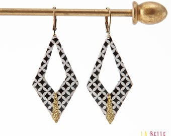 Argyle pattern graphic mosaic black and glitter resin earrings