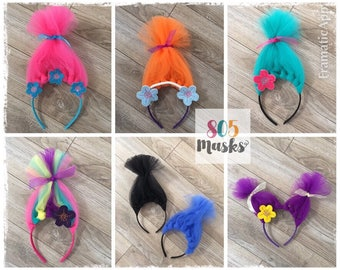 Trolls Inspired Headbands, Girls Head bands, Troll Costumes, Poppy Headband, Branch Headband, Trolls Halloween, Troll Hair, Trolls Birthday