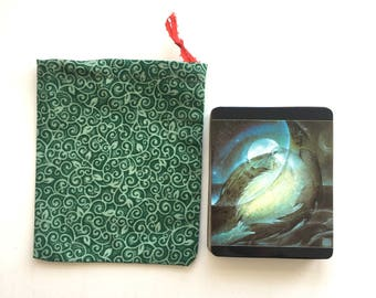 Leafy green swirls tarot bag, cinches closed with love