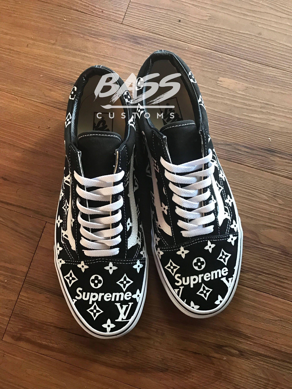 new product 81a95 50bb2 Black Supreme x Louis Vuitton Vans