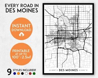 Des Moines map print, Printable Des Moines map art, Des Moines print, Iowa map, Des Moines art, Des Moines poster, Des Moines wall art