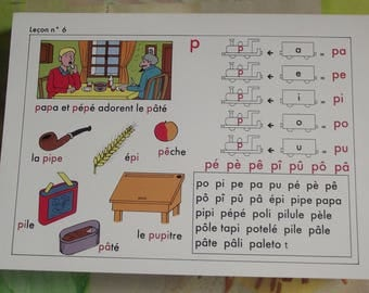 Old school poster speech edition Original French I learn to read, method of reading Andrew 1994 lesson Nightingale Le P 6