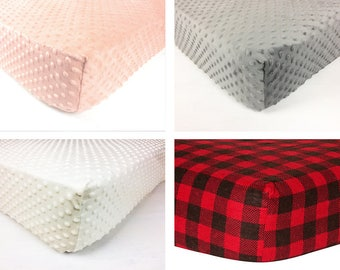 Crib Sheet, Changing pad cover, baby bedding, minky standard fitted crib sheet, pink gray coral ivory, black, buffalo plaid baby shower gift