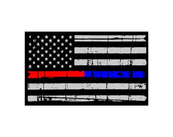 Thin Blue Line, Thin Red Line Flag Decal Sticker
