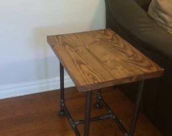 End Table, Table, Industrial Table, Industrial Pipe Table, Industrial End  Table,