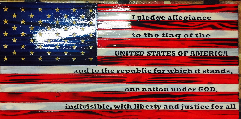 american flag w pledge of allegiance