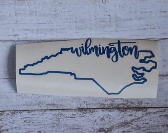 Wilmington Sticker Wilmington Decal Wilmington NC Sticker Wilmington NC Decal Wilmington North Carolina Wilmington NC Outline