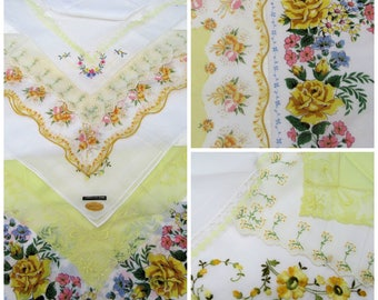 Vintage Yellow HANKIES~Lot of 8 Yellow Floral Handkerchiefs~Wedding Hankies~ Flowers Embroidery Shabby~Bridesmaids Curtains Crafts