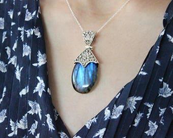 Labradorite Pendant, Gemstone Pendant, Handmade Designer Pendant, One of a kind, eye catching, Solid 925 Silver Pendant. Fine Jewelry Gift
