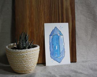 2.25in x 3.75in Blue Crystal Watercolor Painting