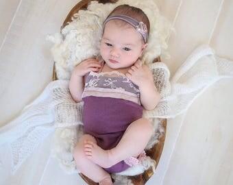 Newborn photo outfit - Newborn Girl Romper - Pretty Bow Baby Romper - Pink Romper - Newborn Prop Romper