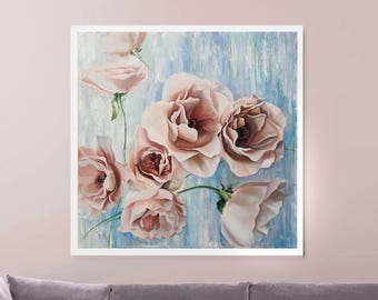 Abstract Flowers Large Oil Painting, Original Oil Painting, Roses painting, Gift for her, Pink Large Painting, Modern Art, Abstract Flowers