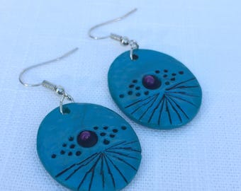 Otherworldly Earrings | Brilliant Turquoise Blue Ovals with Purple, Black and Silver Accents