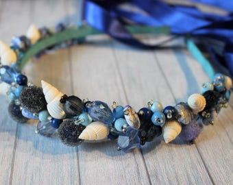 "handmade headband crown hairband ""Deep Sea"" with seashells"