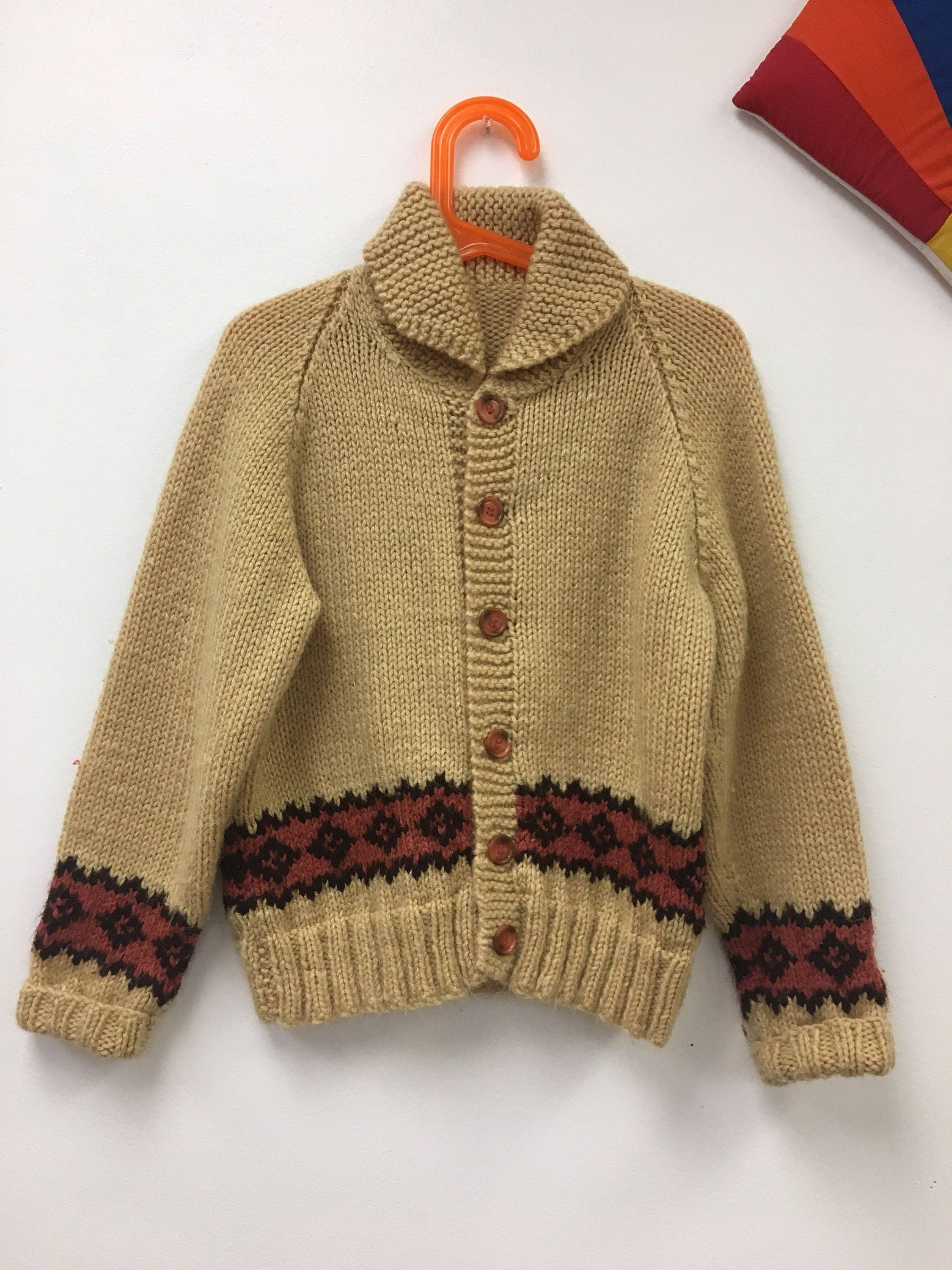 Vintage Children's 1980s Brown Knit Cardigan Sweater Charlie Brown ...