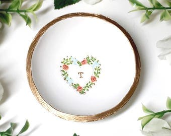 Heart Wreath Jewelry Dish / Monogram Ring Dish / Personalized Ring Dish / Personalized Jewelry Dish / Bridesmaids Gift / Gifts for Her