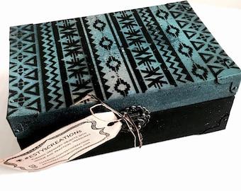 Black and blue keepsake box, memories box, keepsake box,  wooden box,  one of a kind gift, jewelry box, wood box, gift for her