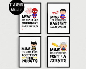 PROMO: Set of 4 Posters quotes super hero kids in a bedroom or baby Nursery decor